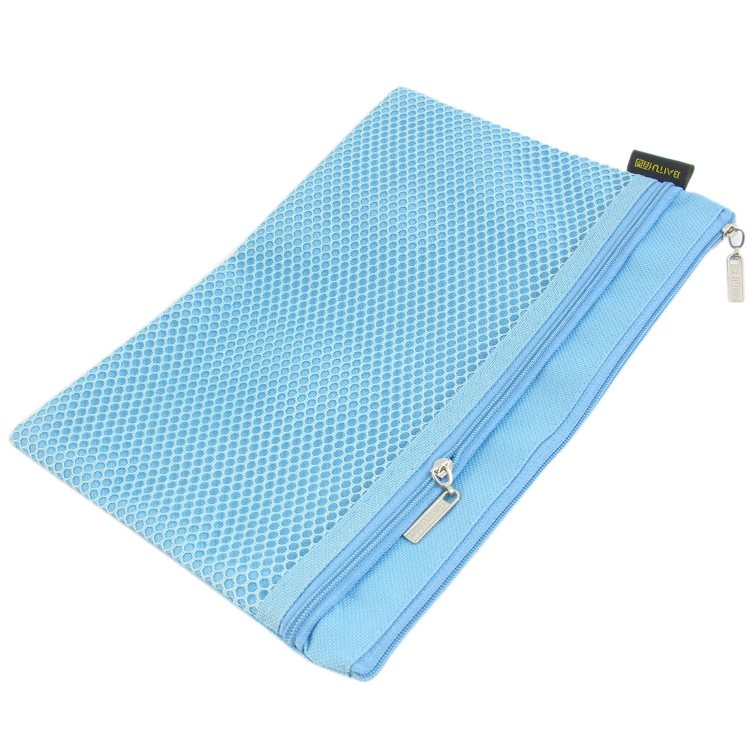Zipper Closure 2 Pockets Canvas A5 File Bag Document Holder Blue