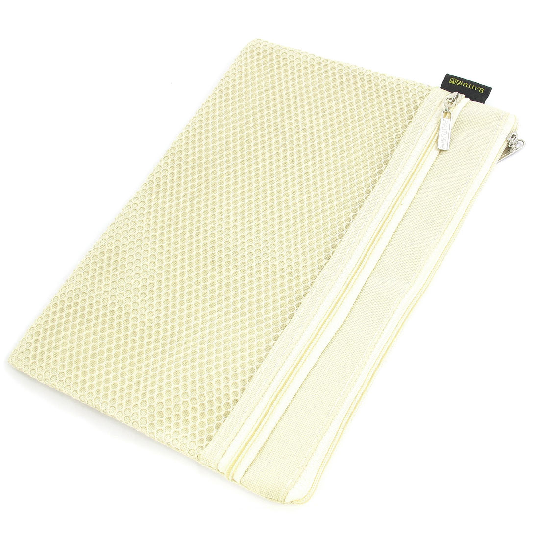 Zipper Closure 2 Pockets Canvas A5 File Bag Document Holder Beige