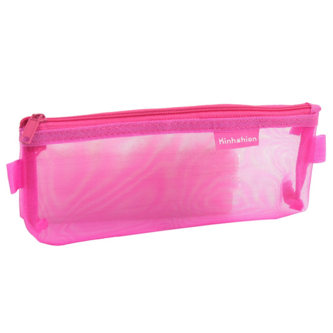 Zip up Nylon Mesh Pencil Pen Stationary Organizer Case Bag Fuchsia for Students