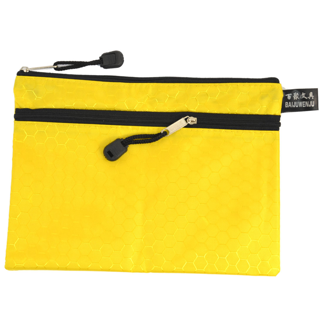 Portable Rectangle 2 Compartments A5 Paper Pen File Document Bag Holder Yellow