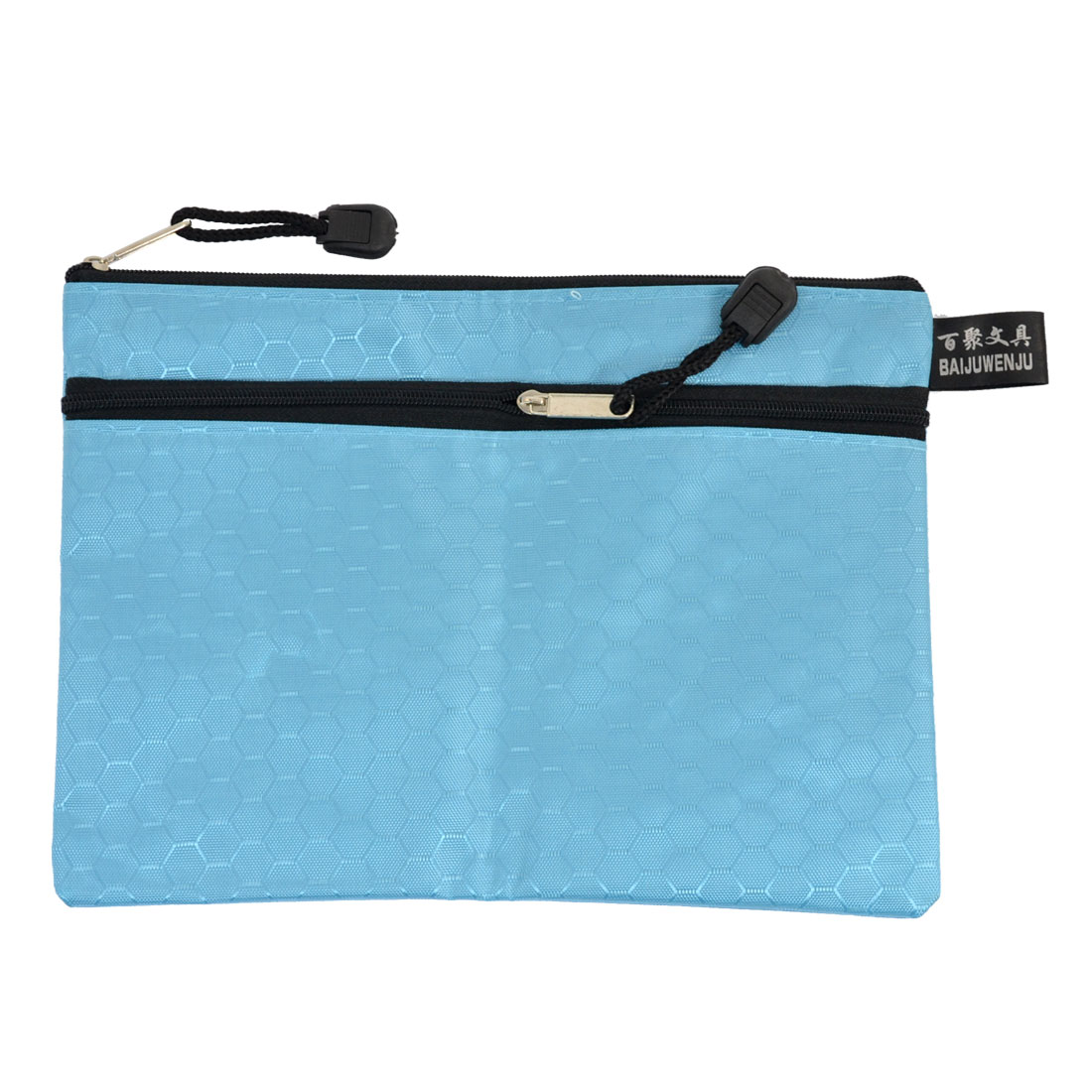 Blue Nylon 2 Compartments A5 File Document Paper Holder Organizer Zipper Bag