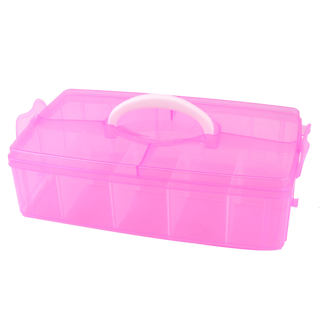 Fuchsia Plastic 10 Detachable Compartments Hand-held Jewelry Storage Box Case