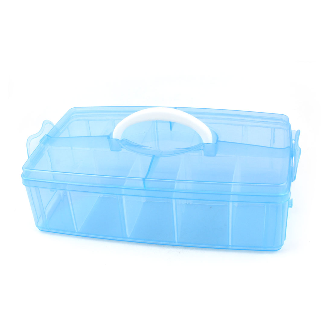 Carry Handle 10 Separable Compartments Rectangle Components Storage Case Blue