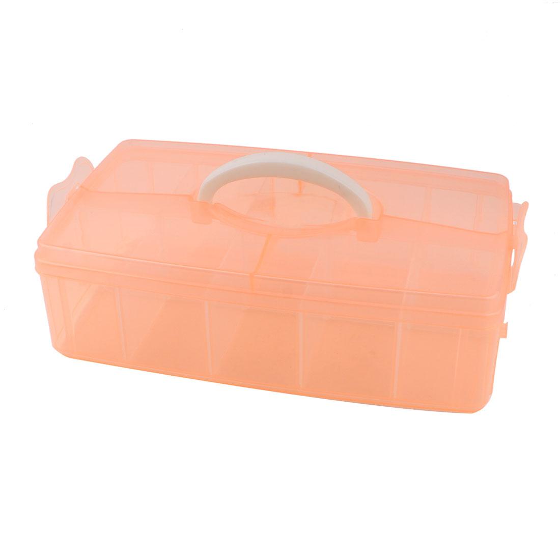 Apricot Plastic 10 Detachable Slots Components Necklace Jewelry Storage Case Box