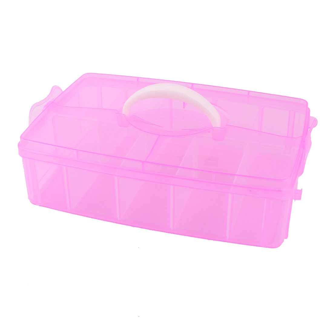 Detachable 10 Components Earrings Jewelry Organizer Storage Box Holder Fuchsia