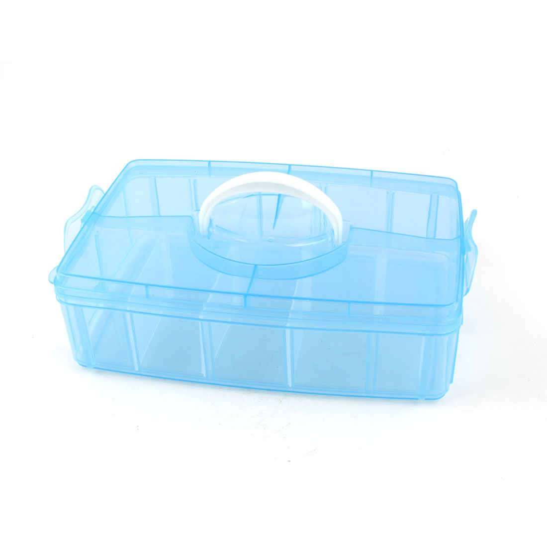 Household Blue Plastic 10 Slots Separable Hand Carry Storage Box Container