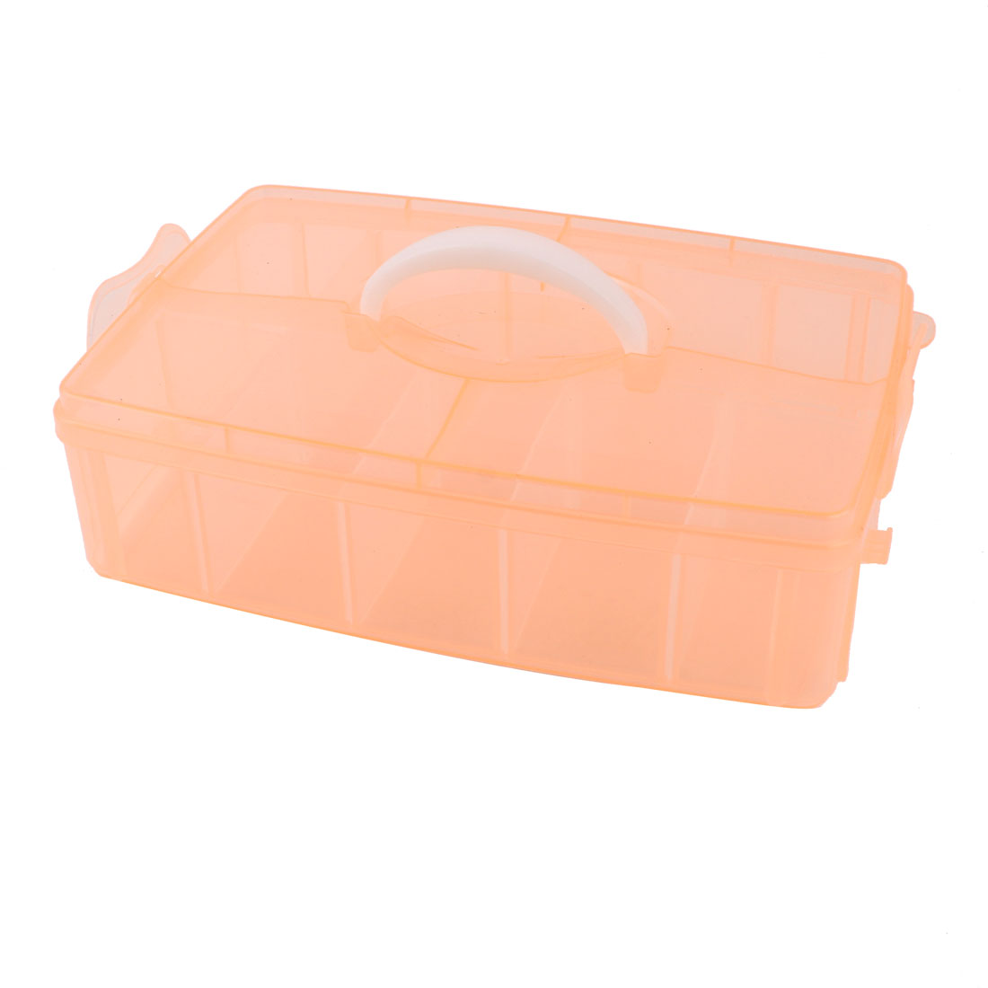 Carry Handle 10 Compartments Separable Storage Case Container Apricot