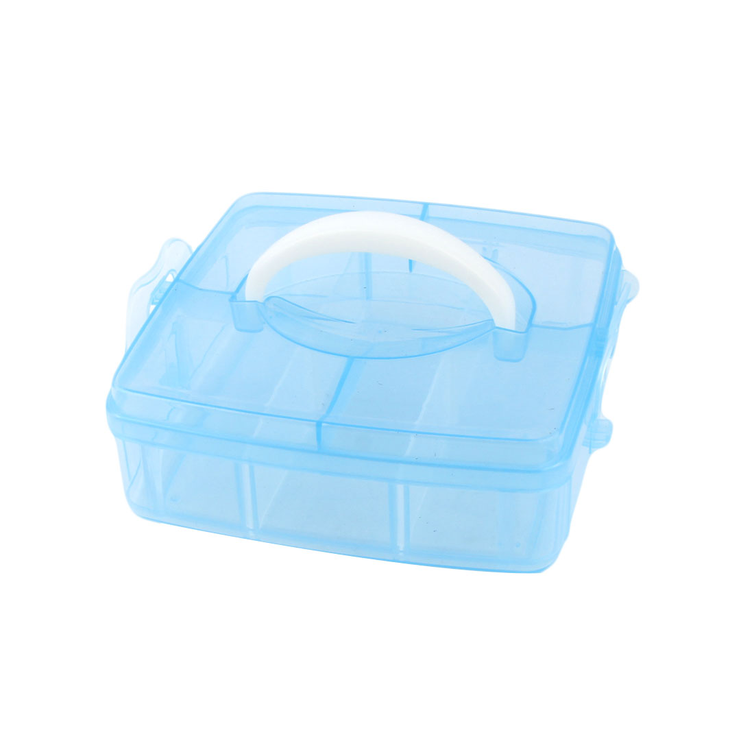 Plastic 6 Separable Compartments Hand Carry Components Storage Box Blue