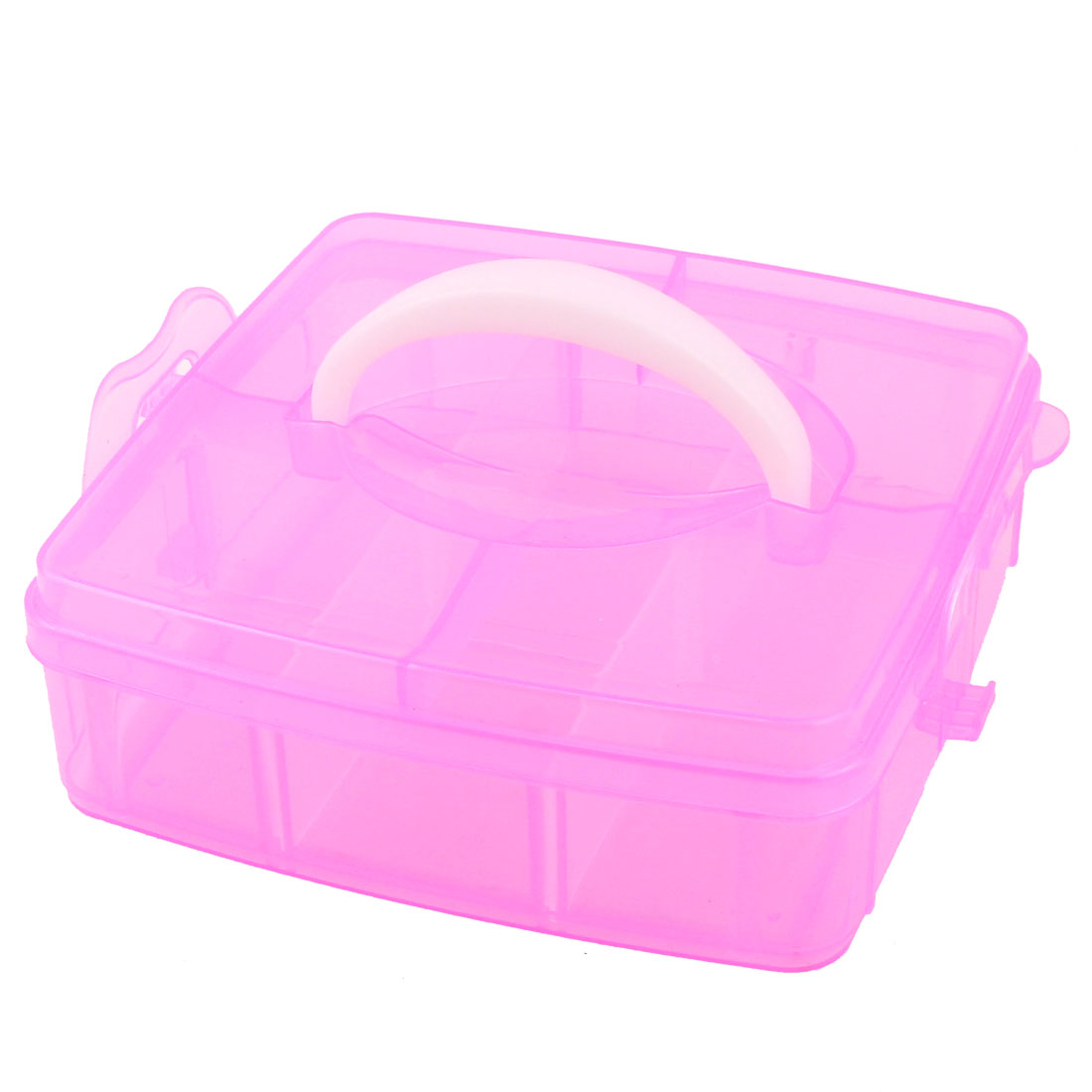 Carry Handle 6 Compartments Separable Storage Case Container Fuchsia