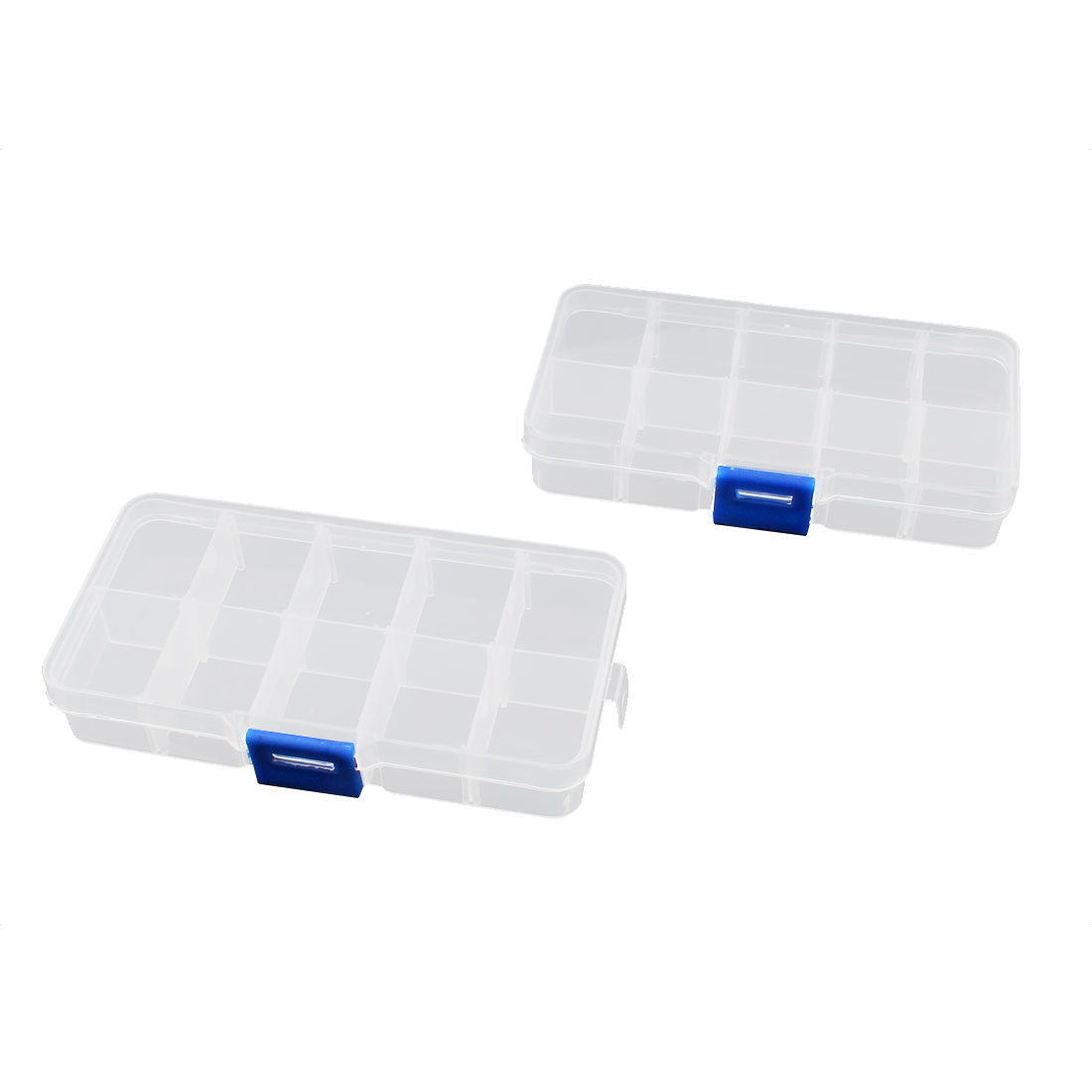 2 Pcs Clear Plastic 10 Sections Press Buckle Pill Tablet Box Holder