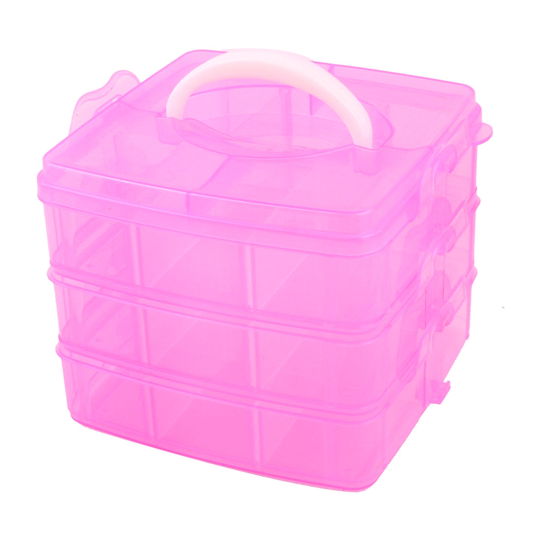Carry Handle Triple Layers 18 Compartments Separable Storage Case Fuchsia
