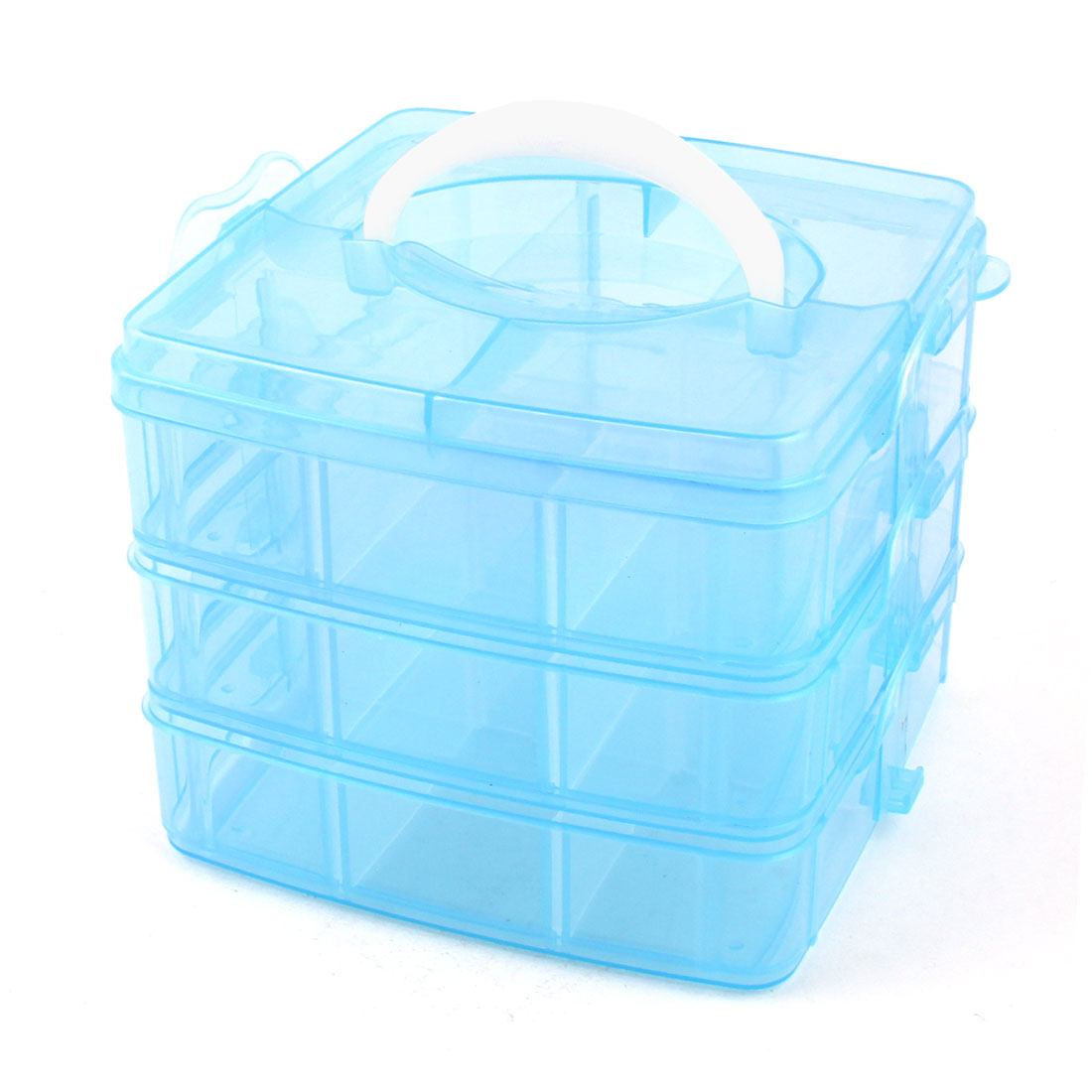 Blue Three Layers 18 Grids Detachable Carrying Handle Storage Case Organizer