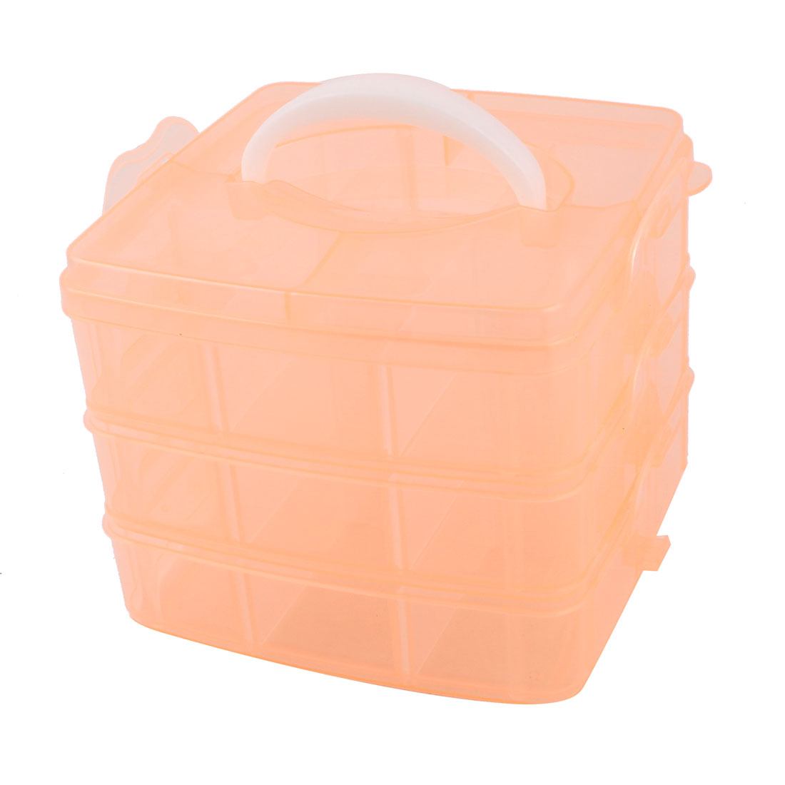 Red Orange Plastic 3 Layers 18 Slots Separable Hand Carry Storage Box Container