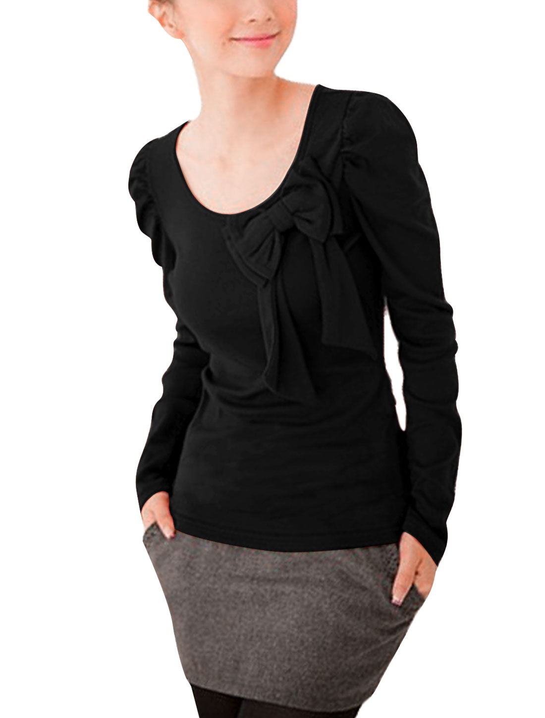 Sweet Puff Sleeves Bowknot Decor Top for Ladies Black XL
