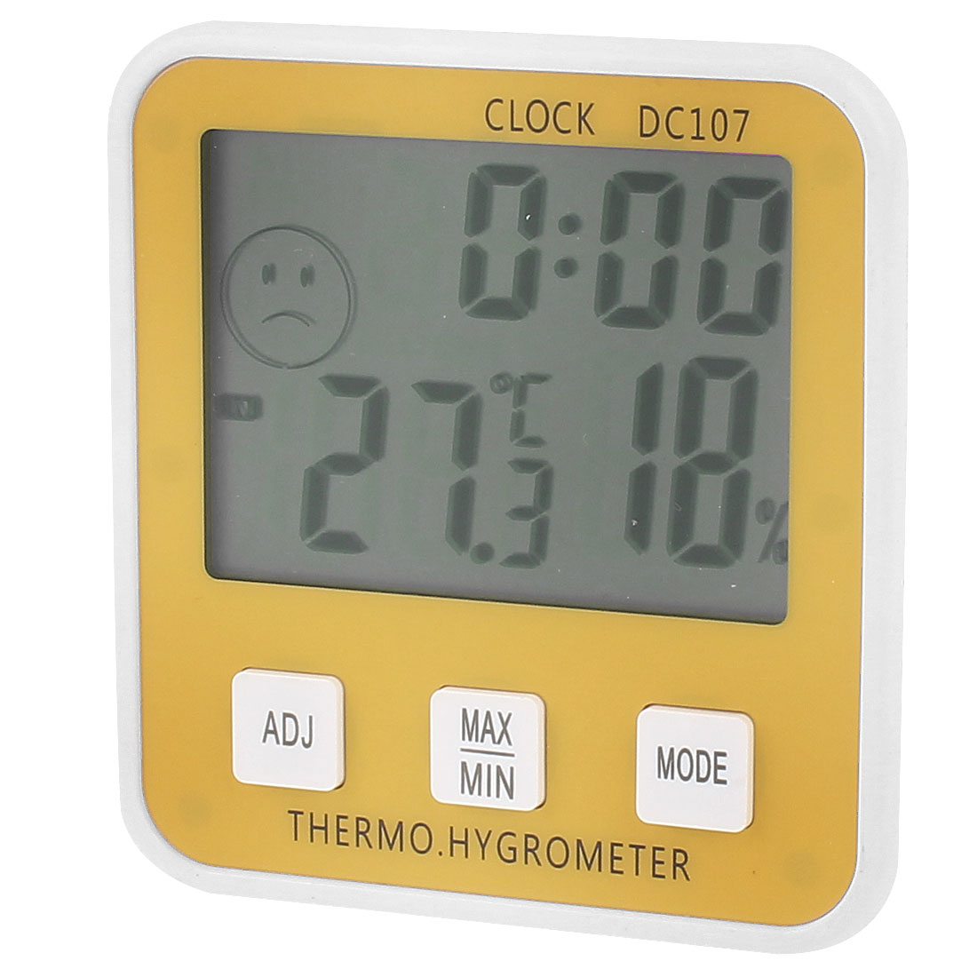 Indoor Clock Alarm LCD Digital Thermometer w Hygrometer White Yellow