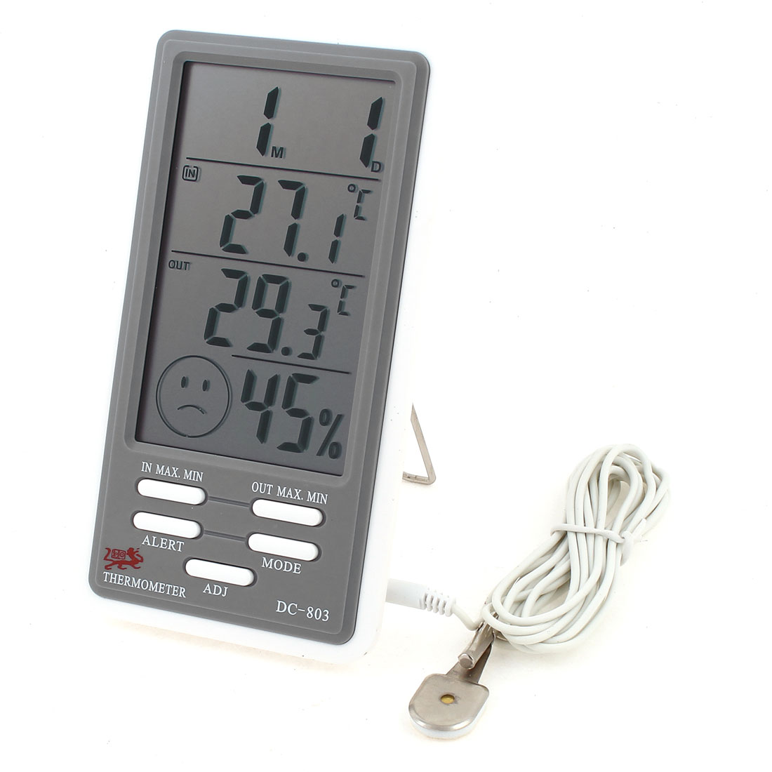 DC803 Battery Powered Metal Stand Indoor Outdoor Digital Thermometer Hygrometer