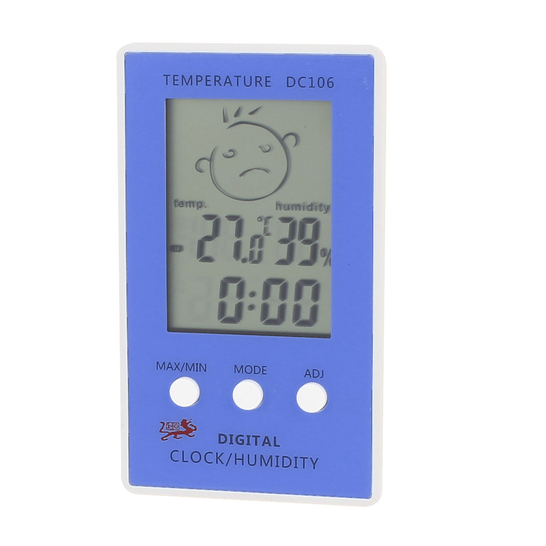 DC106 White Blue Plastic Indoor LCD Digital Thermometer w Hygrometer