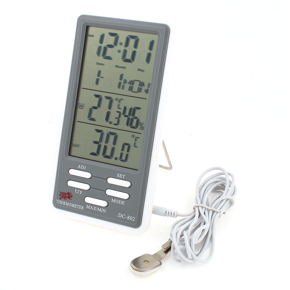 2M Probe Wire Indoor Outdoor LCD Digital Clock Thermometer Hygrometer