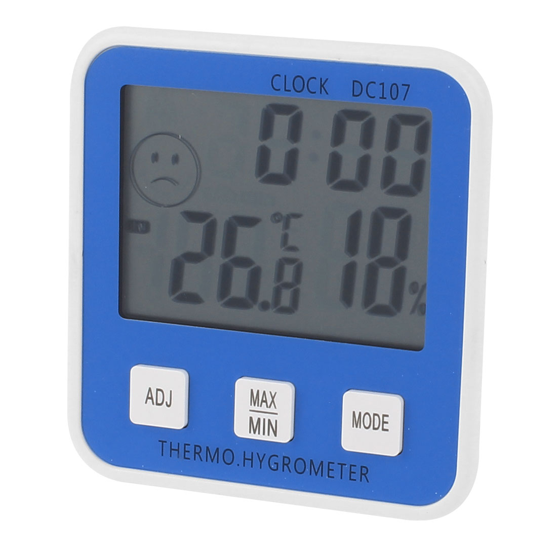 White Blue Housing Indoor Clock Alarm Digital Thermometer w Hygrometer