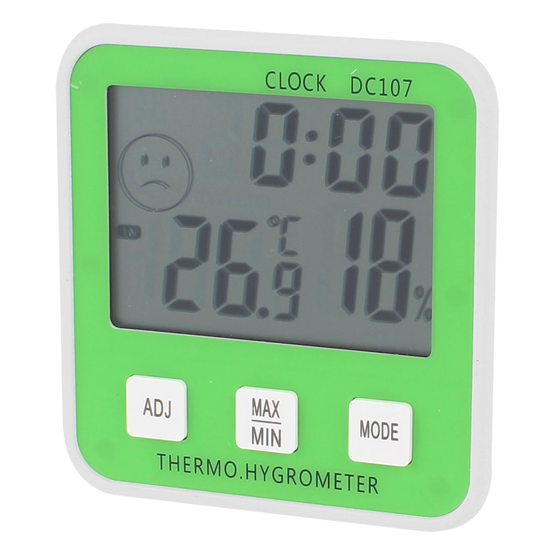 White Green Battery Powered Indoor Digital Alarm Thermometer Hygrometer