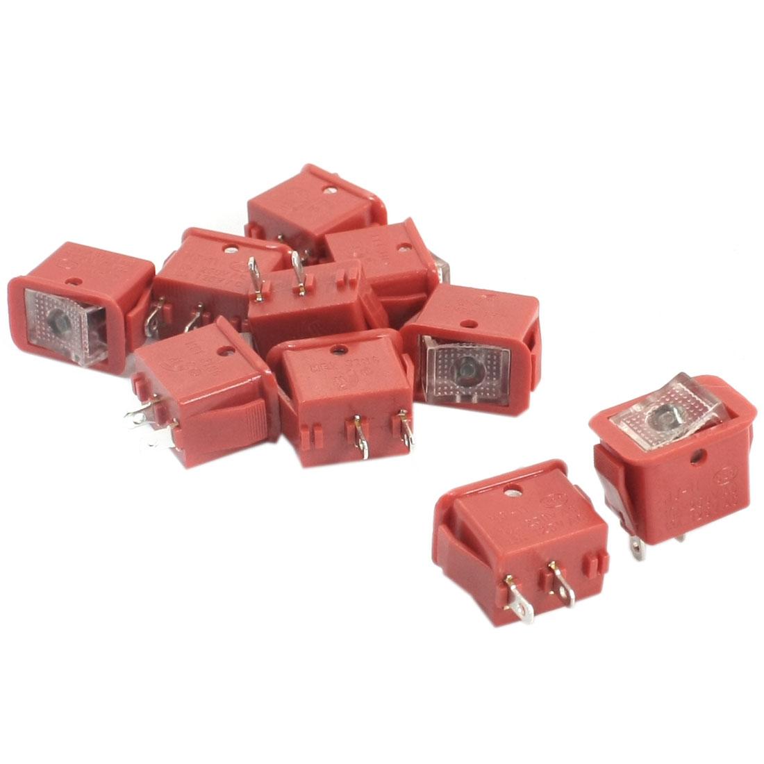 10PCS SPST 2 Position Self-Locking 2-Terminal Panel Mount Rocker Switch Red