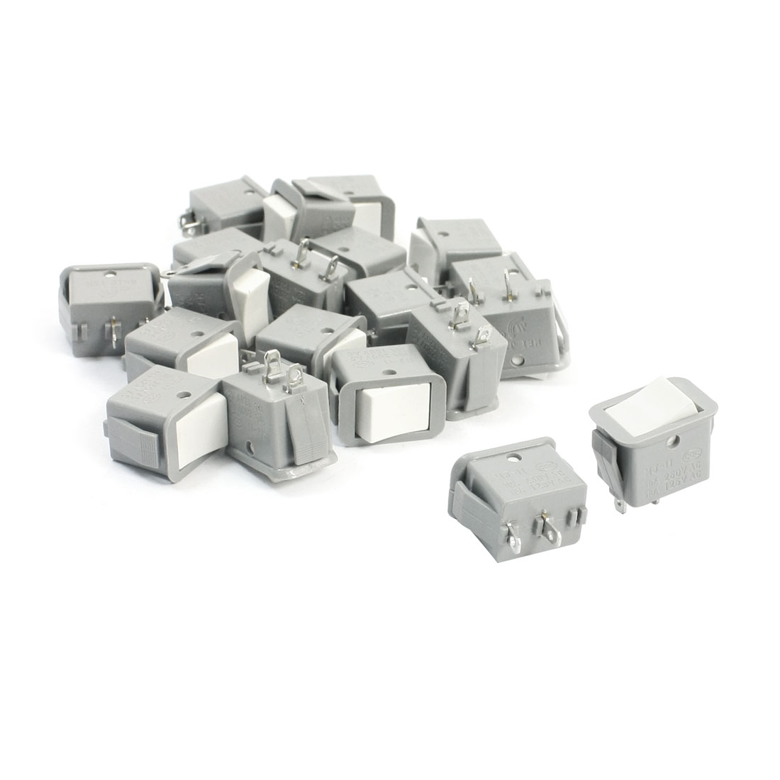 20Pcs AC250V/10A 125V/13A Latching SPST On/Off Rocker Switch Gray