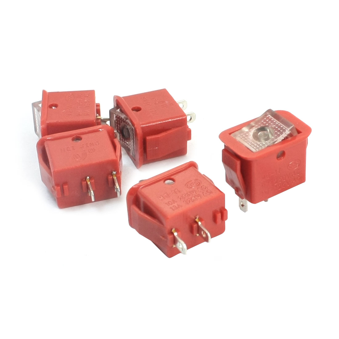 5pcs Red Latching SPST 2 Positions Rocker Switch AC250V/10A 125V/13A