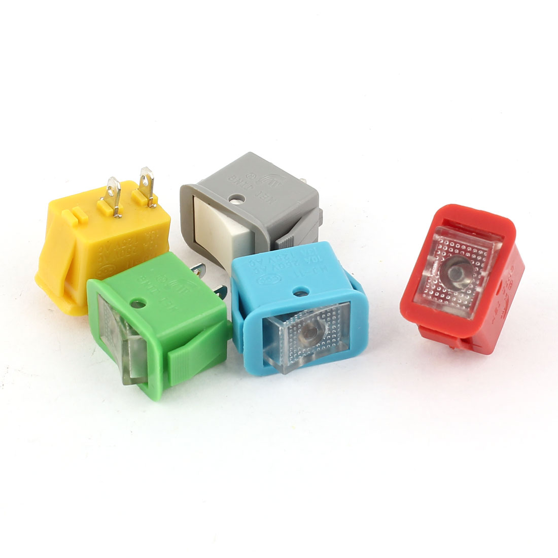 5Pcs SPST 2 Position Locking Panel Mount Rocker Switch Assorted Color