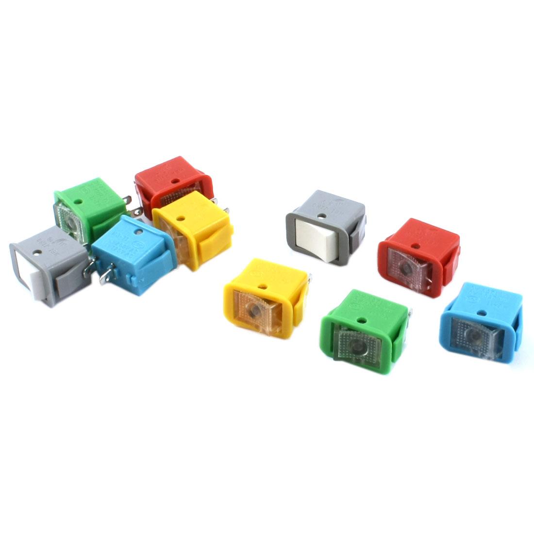 10pcs Latching SPST 2 Positions Rocker Switch AC250V/10A 125V/13A Colorful