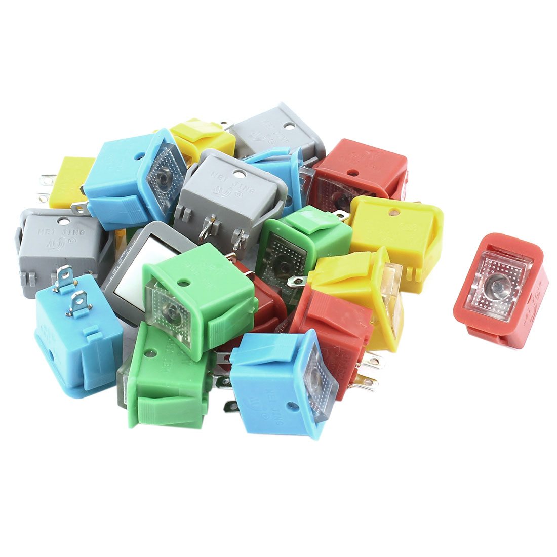 20Pcs SPST 2 Position Locking Panel Mount Rocker Switch Assorted Color