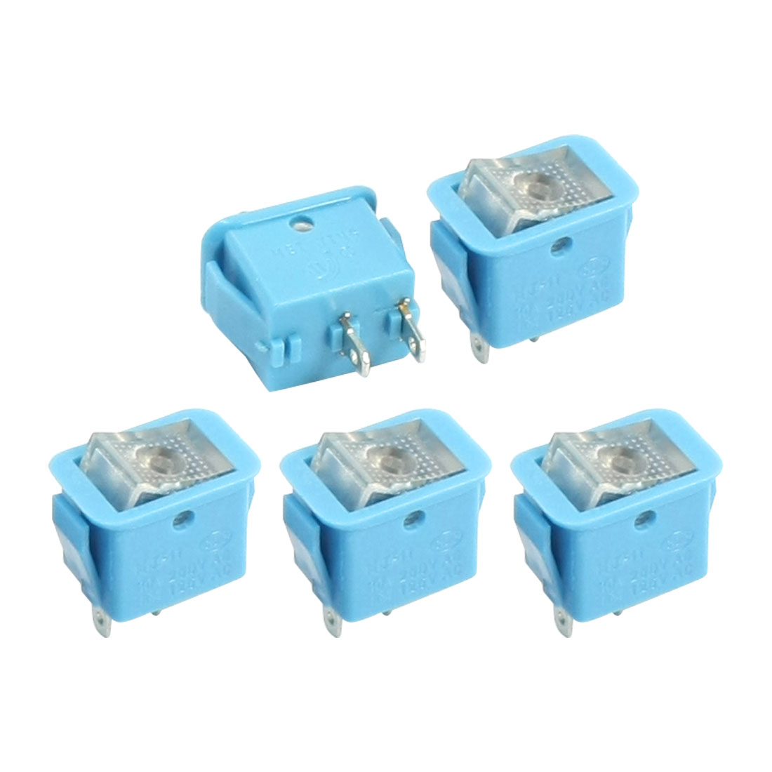 5pcs Blue Latching SPST 2-Position Rocker Switch AC250V/10A 125V/13A