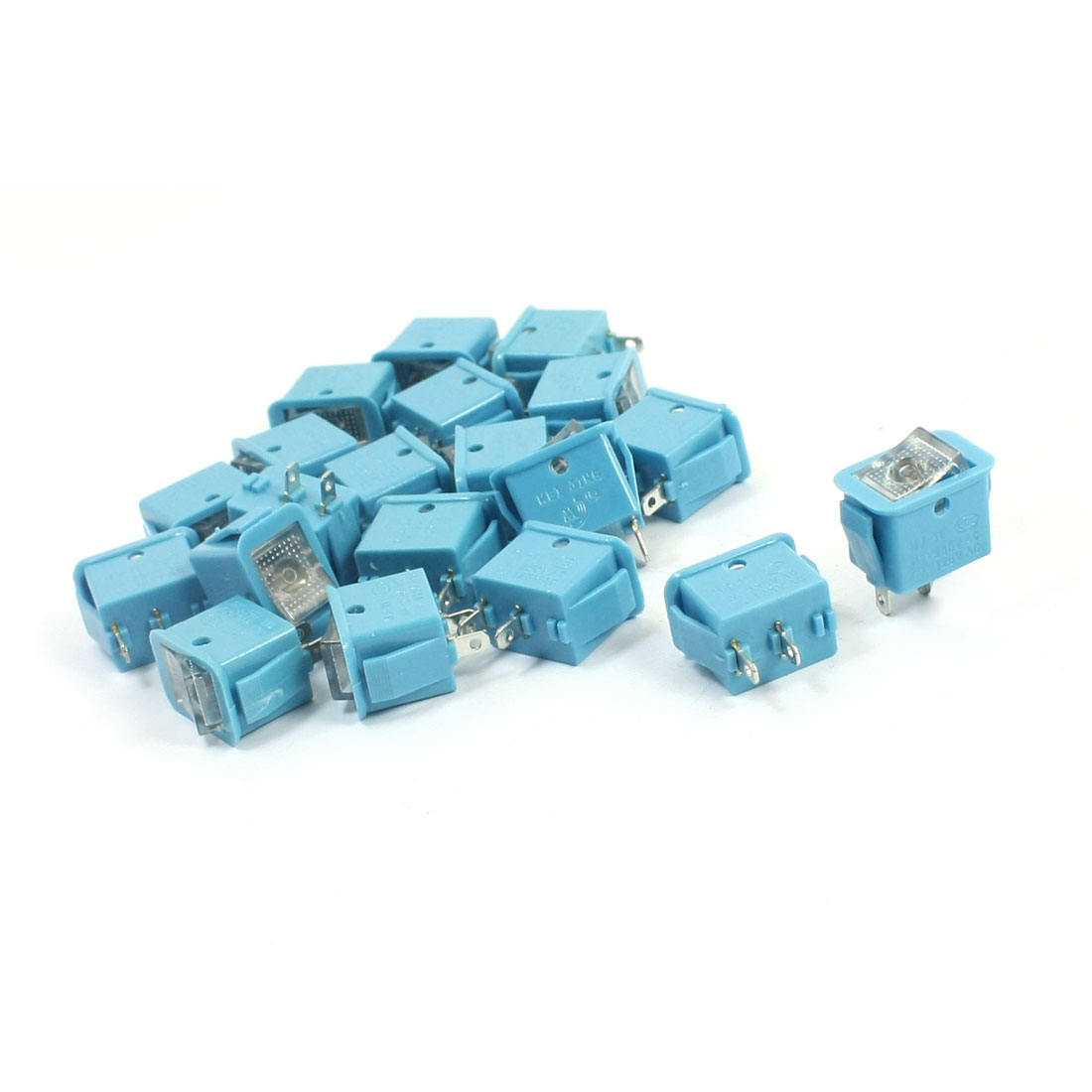 20PCS Blue SPST 2 Positions Self-Locking Panel Mount Rocker Switches