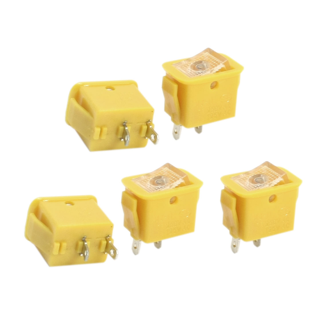 5Pcs AC250V/10A 125V/13A Latching SPST On/Off Rocker Switch Yellow