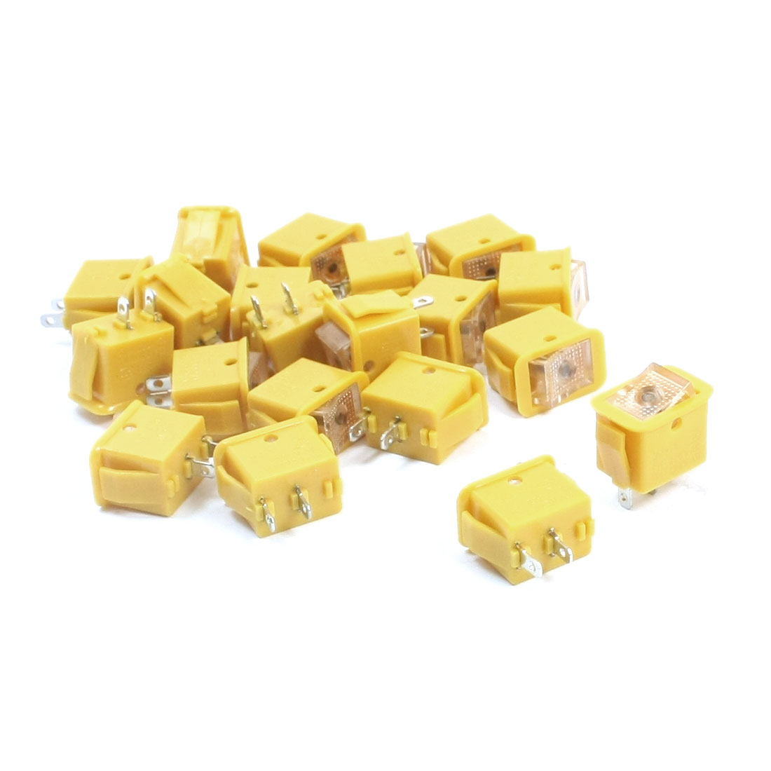 20PCS SPST 2 Position Self-Locking Panel Mount Clear Button Yellow Rocker Switch