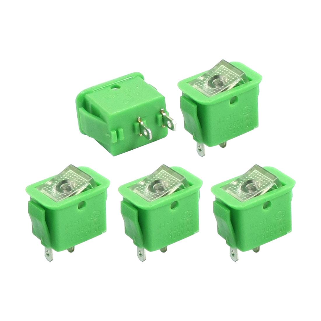 5PCS SPST 2 Position Locking Panel Mount Clear Button Green Rocker Switch