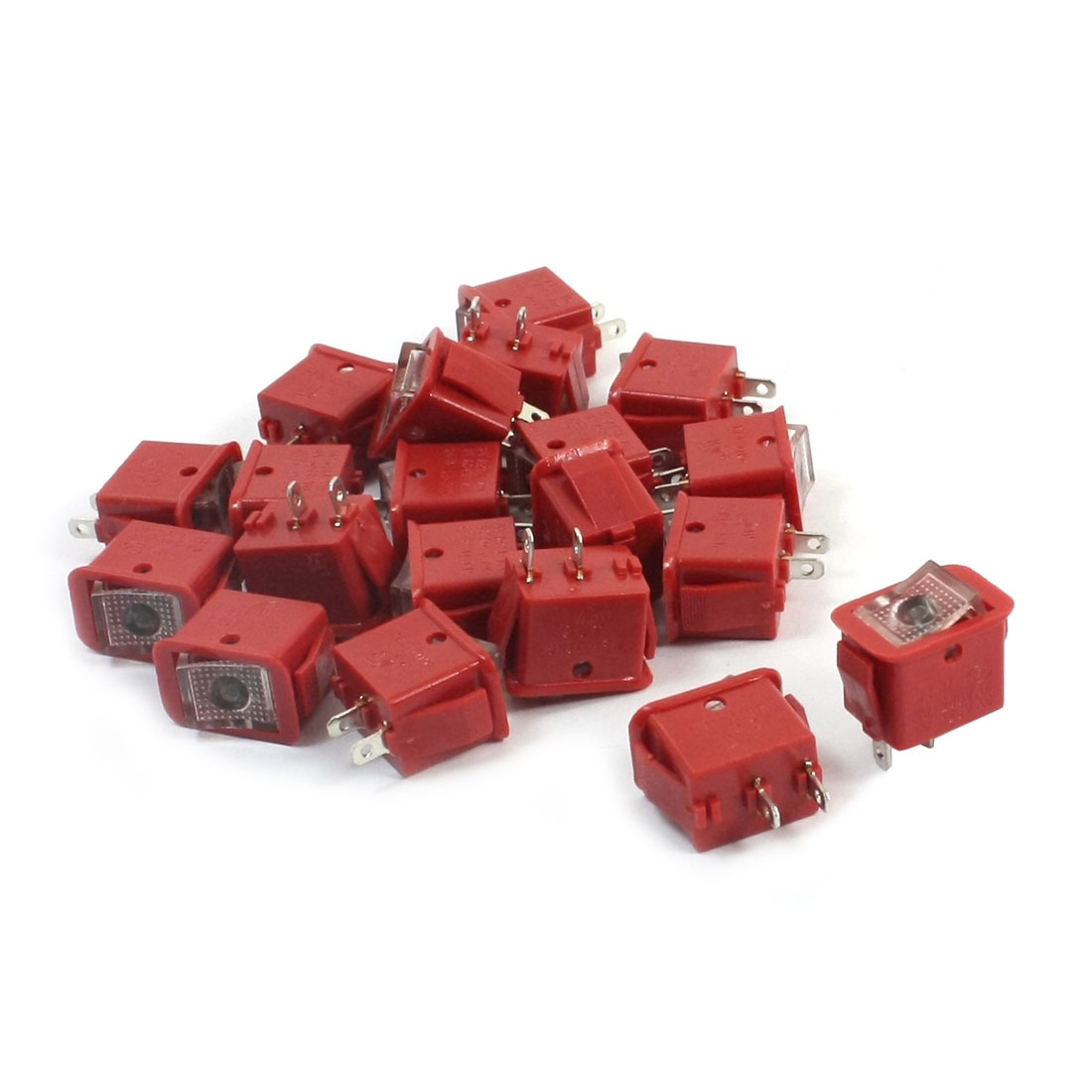 20pcs Red Latching SPST 2-Position Rocker Switch AC250V/10A 125V/13A
