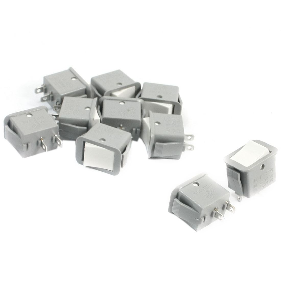 10pcs Gray Locking SPST 2 Positions Rocker Switch AC250V/10A 125V/13A