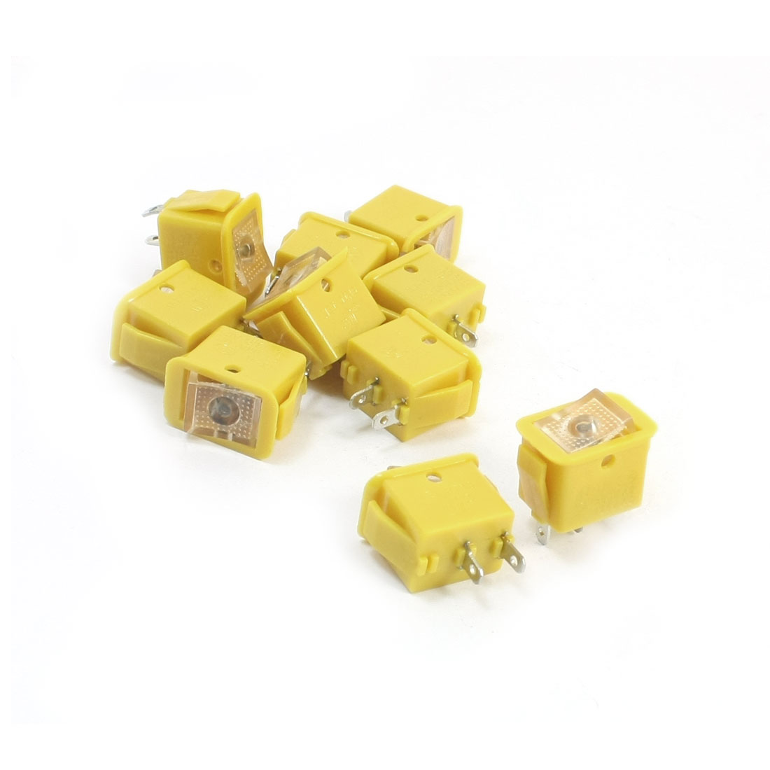 10pcs Yellow Locking SPST 2 Positions Rocker Switch AC250V/10A 125V/13A