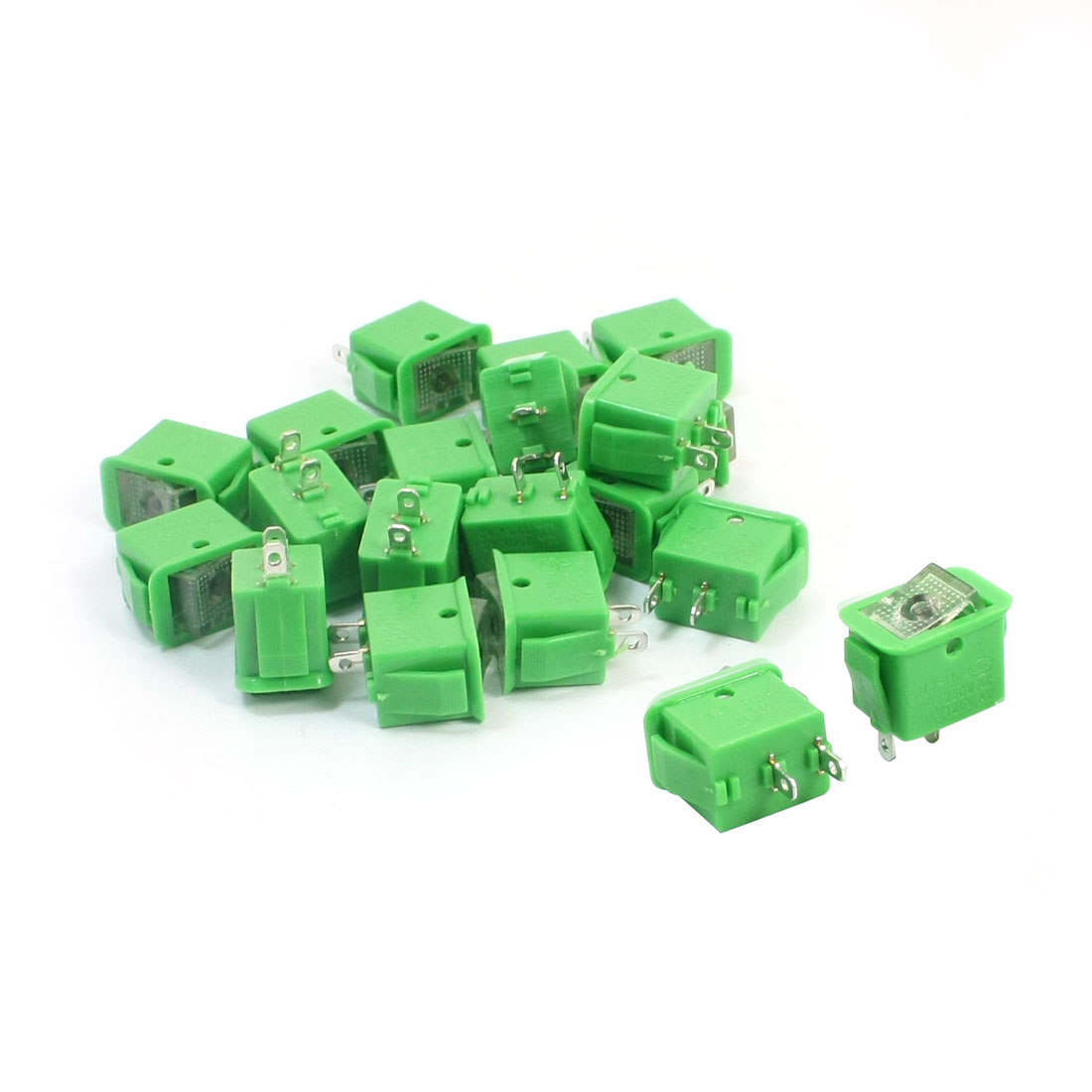 20pcs Green Latching SPST 2 Positions Rocker Switch AC250V/10A 125V/13A