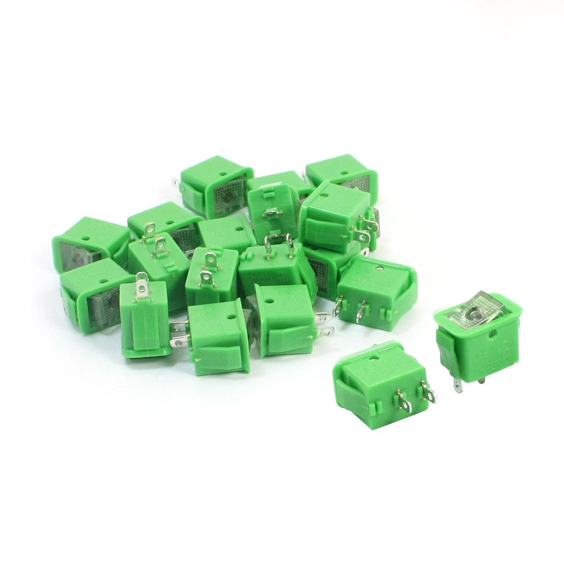 20pcs Green Latching SPST 2 Positions Rocker Switch AC250V/10A 125V/13A