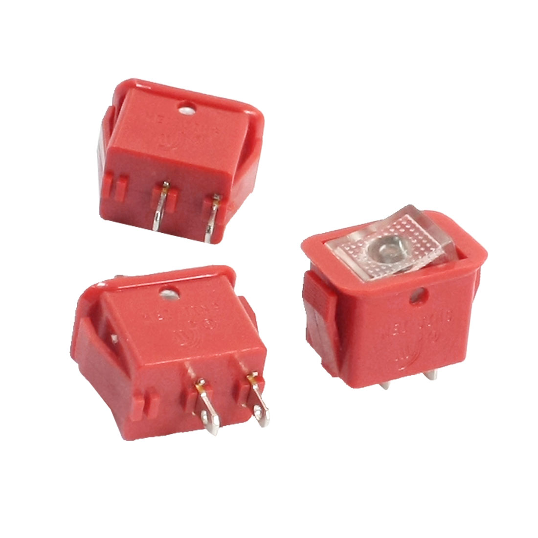 3PCS SPST 2 Position Self-Locking Panel Mount Red Rocker Switch MJ-11