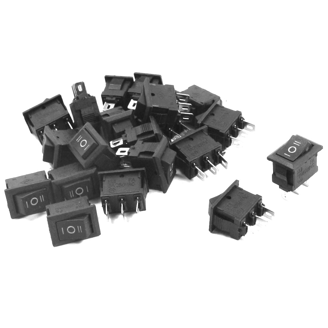 20PCS Black ON/OFF/ON SPDT Self-Locking Boat Rocker Switch AC250V 3A