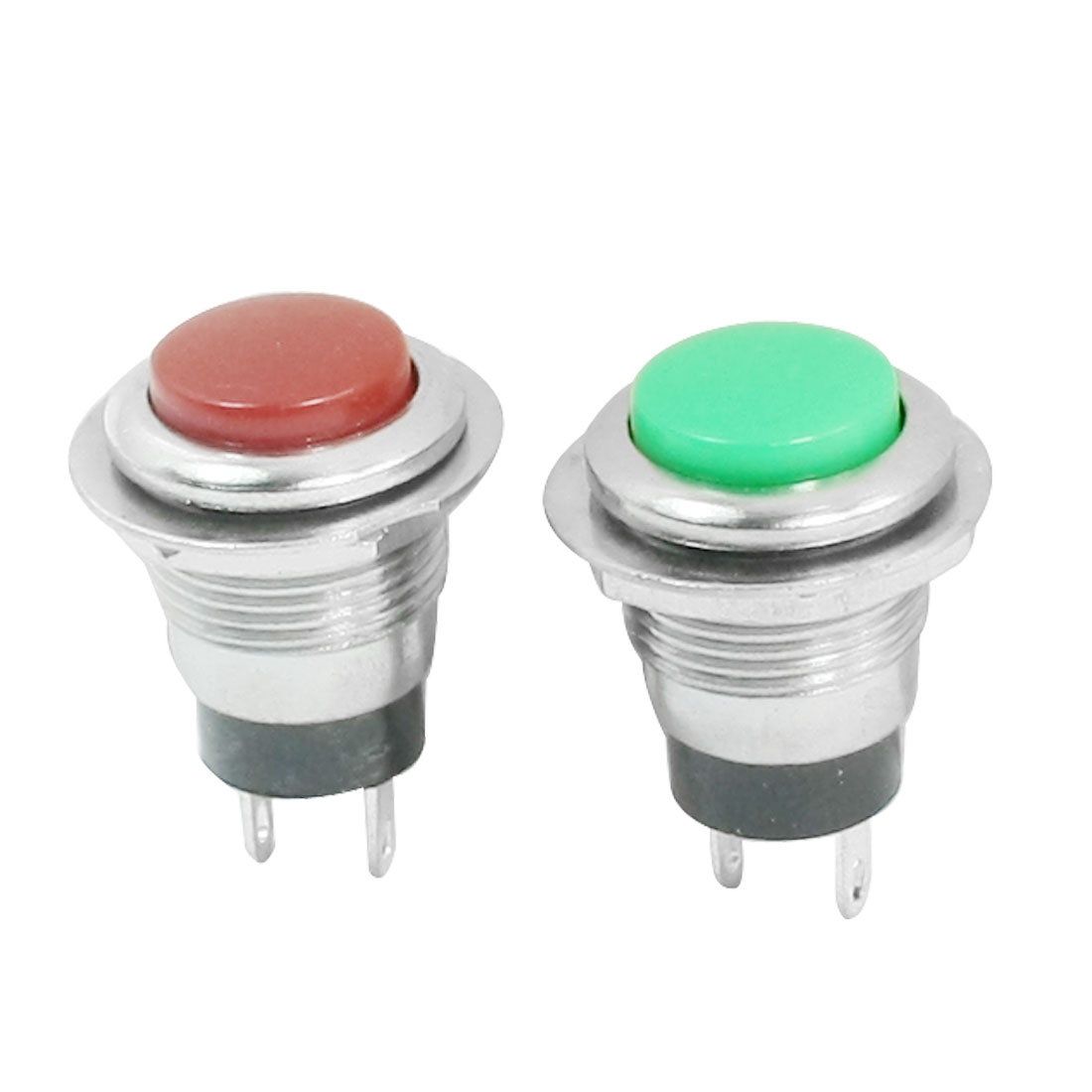 2pcs 2 Terminal 12mm Momentary SPST Red Green Push Button Switch AC125V 6A 250V 3A