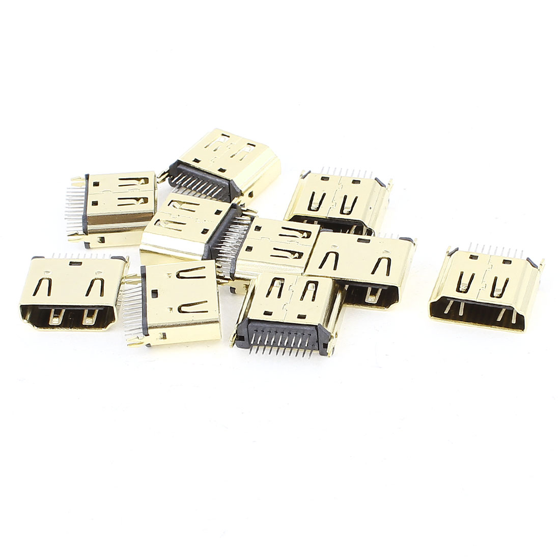 10PCS Gold Tone Micro 19Pins 180 Degree DIP Type HDMI Female Connectors