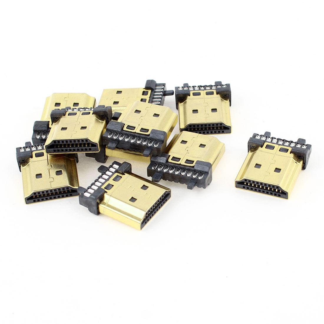 10pcs Gold Tone HDMI Male 19-Pin Connectors Jack