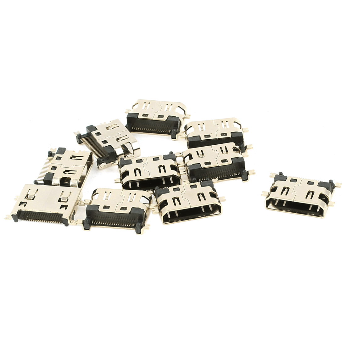 10PCS SMT DIP Type Single Row 19Pins HDMI Female Connectors Gold Tone