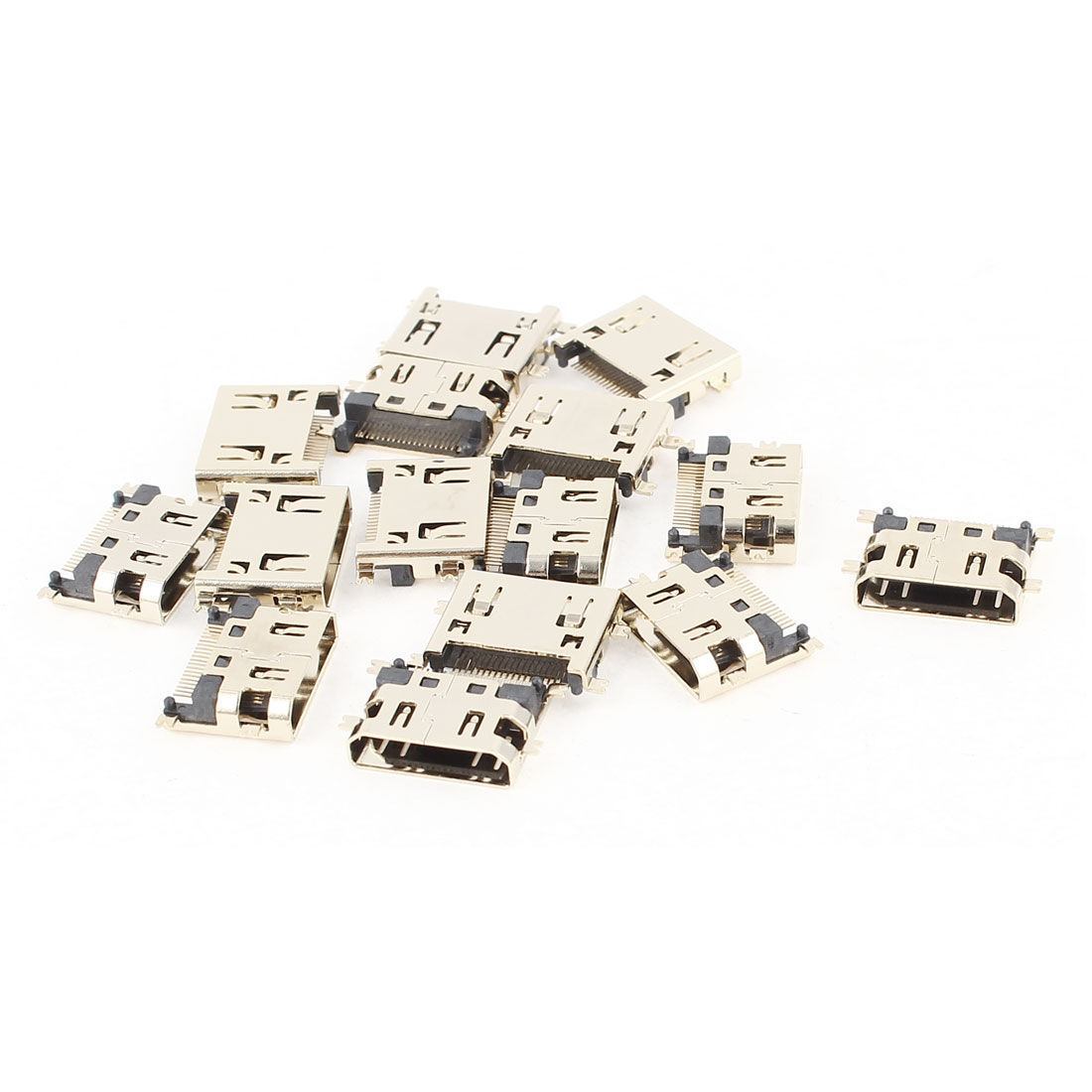 15Pcs Mini Micro HDMI 19Pins Female Socket Jack Connectors Gold Tone