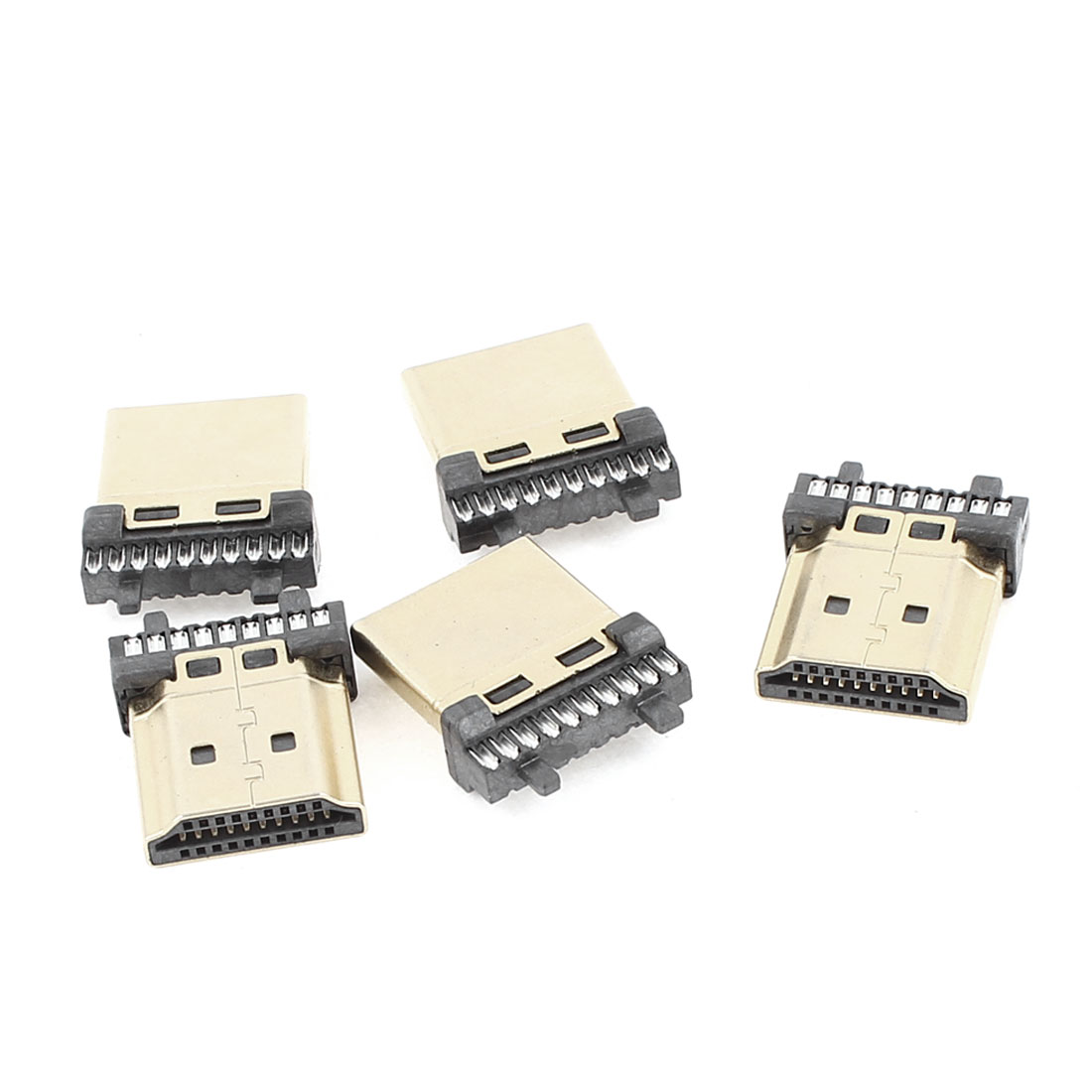 5Pcs Gold Tone Housing Solder Type Male 19Pins HDMI Connectors