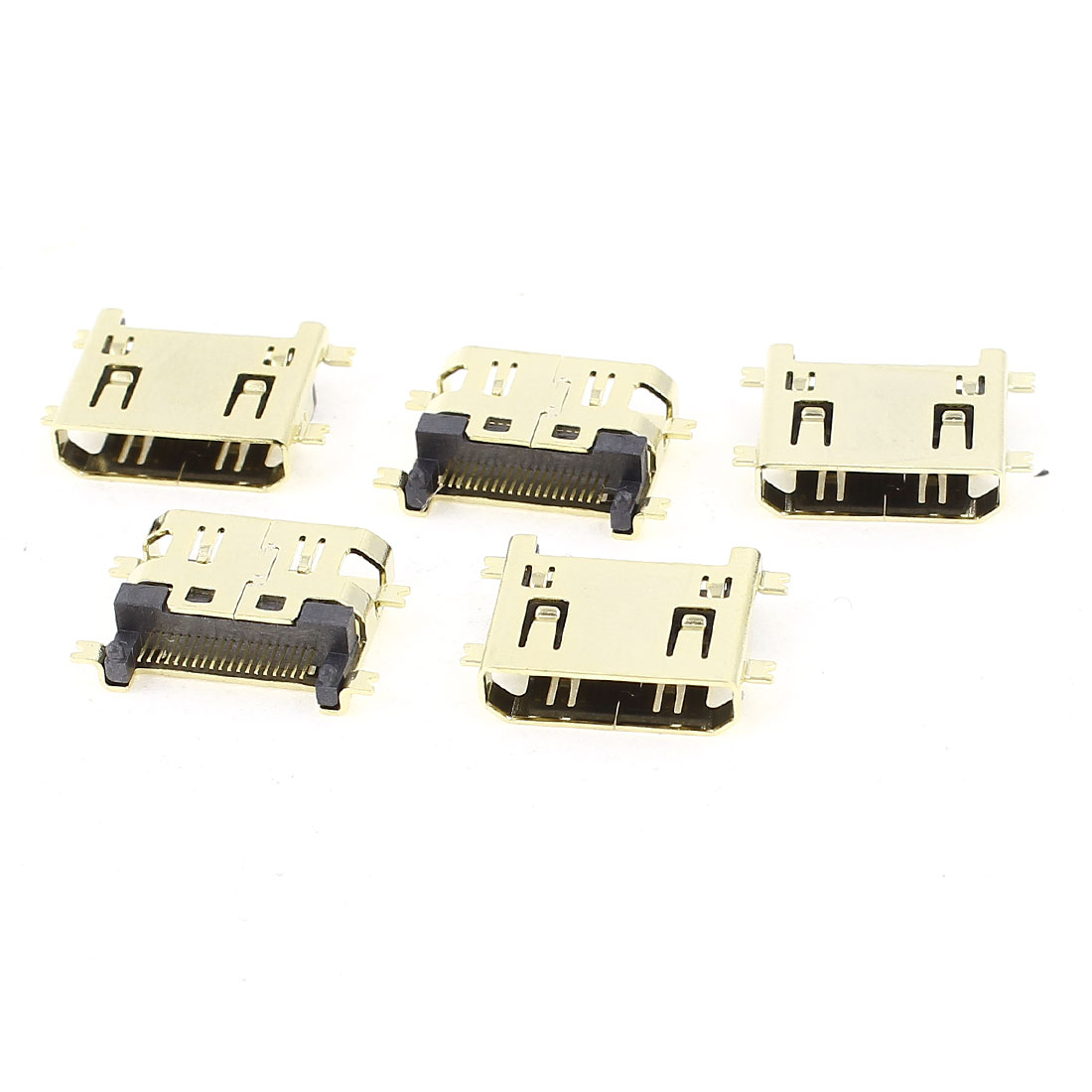 5pcs Gold Tone Gold-Plated SMT DIP Type Mini HDMI 19P Female Connector