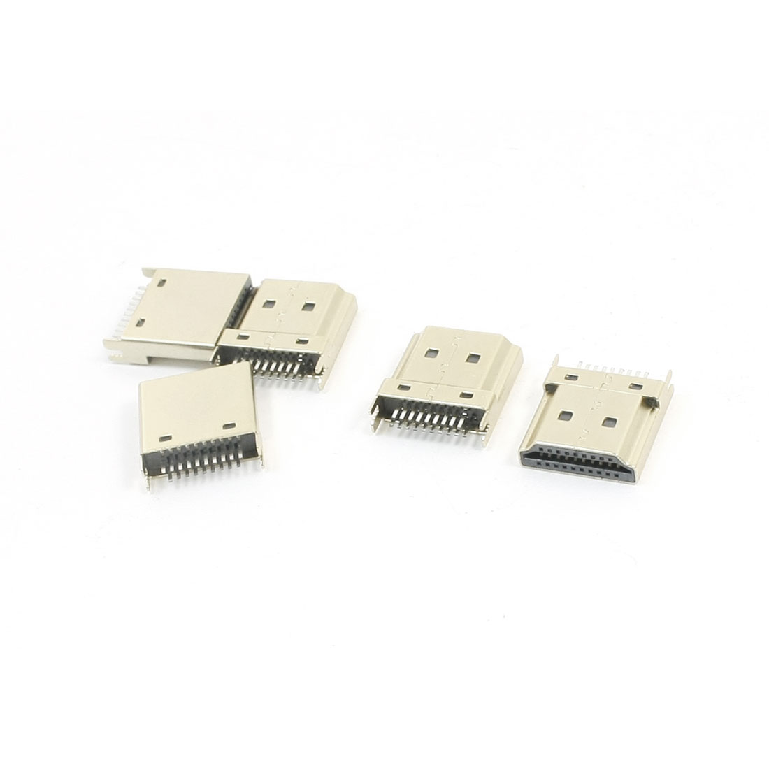5pcs 1.0mm Spacing Gold Tone Mini 19Pin HDMI Female Connector SMT 180 Degree